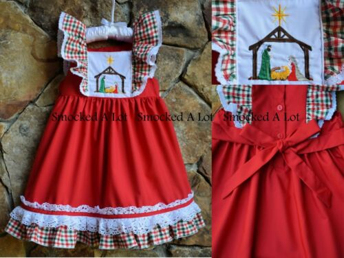 Smocked A Lot Girls Christmas Dress Red Green Nativity Manger Plaid Tartan