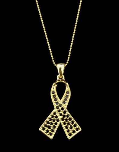 CRYSTAL BLACK RIBBON BOW MELANOMA SKIN CANCER AWARENESS PENDANT CHARM  NECKLACE