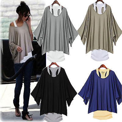 Fashion Sexy Womens Casual Loose Tops Batwing Blouse T-shirt +Tank Vest 2PCS/Set
