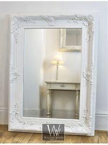Delamere-White-Ornate-Rectangle-Antique-Wall-Mirror-40-034-x-30-034-V-Large
