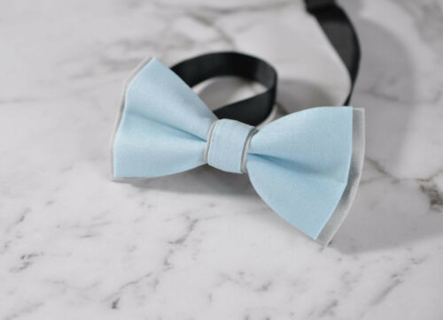 Father Son Match 100/% Cotton Handmade Grey and BABY Blue Bow Tie Bowtie Wedding