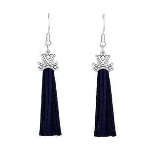 Virginia Cavaliers Blue Leather Tassel Silver Charm Earring Jewelry Gift UVA