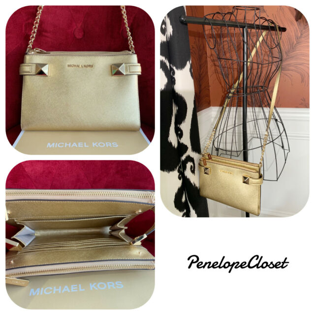 a64f8a67a06a3 Michael Kors Saffiano Leather Karla East West Crossbody Bag in Gold ...