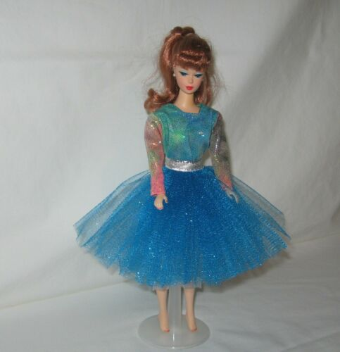 """Handmade Turquoise TuTu with Multi Colored Oil Slick Top Dress FOR 11 1//2/"""" Doll"""