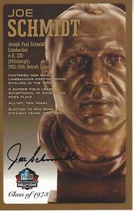 Joe Schmidt Detroit Lions  Football Hall Of Fame Autographed Bust Card