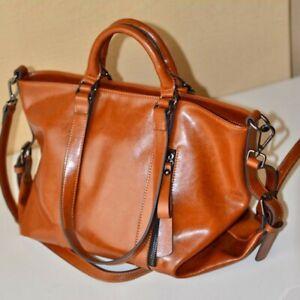 Women-Retro-Handbag-Lady-Shoulder-Bag-Tote-Oiled-PU-Leather-Brown-Elegent