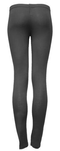 WOMEN BLACK COTTON LEGGINGS ANKLE LENGTH LADIES STRETCH LYCRA LOOK PANTS TROUSER
