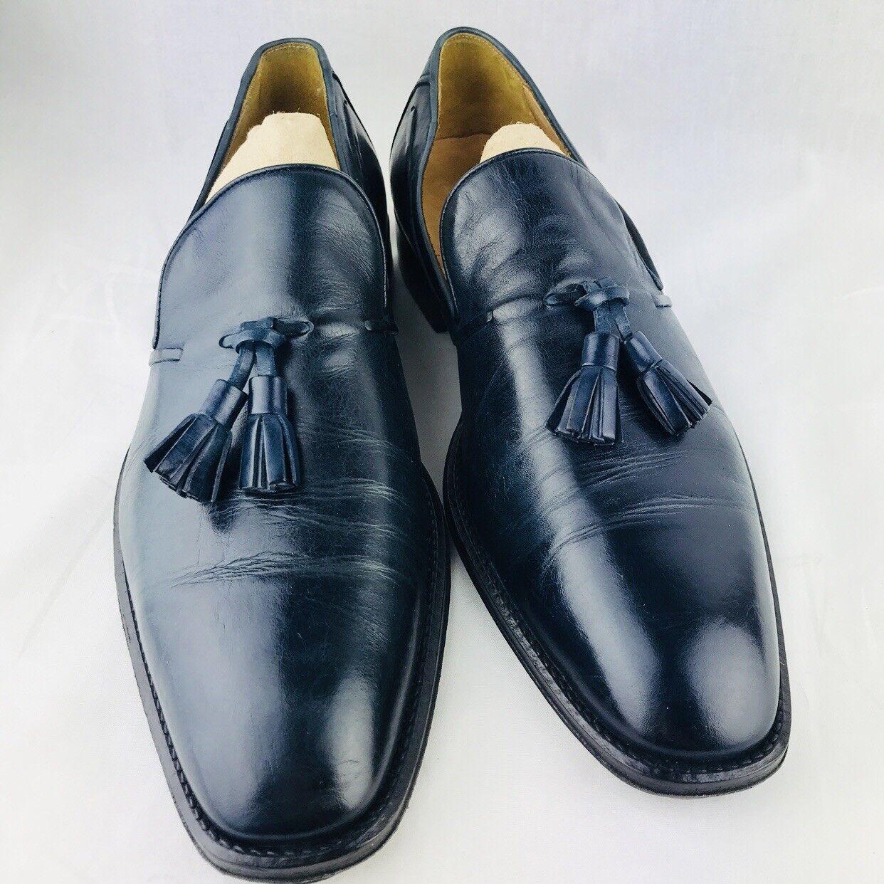 Roberto Morelli Mens 9.5 Cordovan Leather Dress schuhe 43 Navy Blau Tassel Loafer