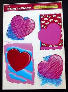 VINTAGE-CLEO-CLINGS-VALENTINE-039-S-DAY-RED-amp-PINK-HEARTS-REUSABLE-WINDOW-STICKERS