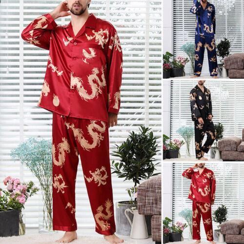 Men Faux Silk Pajamas Pyajamas Set Sleepwear Nightwear Long Sleeve Loungewear