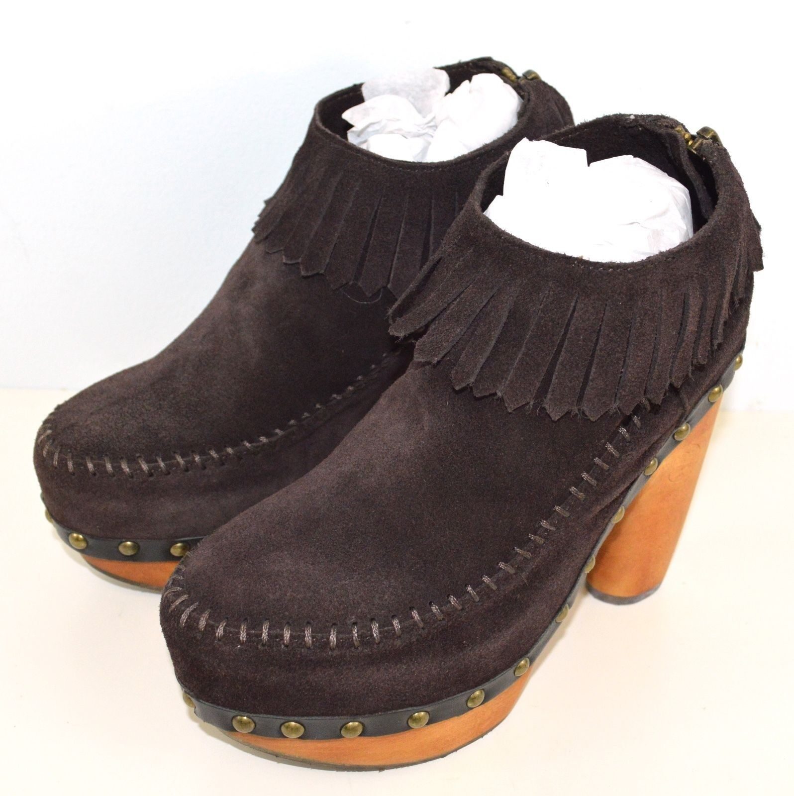 New Flogg Women Davina Suede Wood High Heel Ankle Boots Chocolate Brown X1016