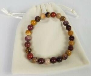 Mookaite-Jasper-Natural-Stone-Gemstone-Beaded-8mm-Stretch-Bracelet