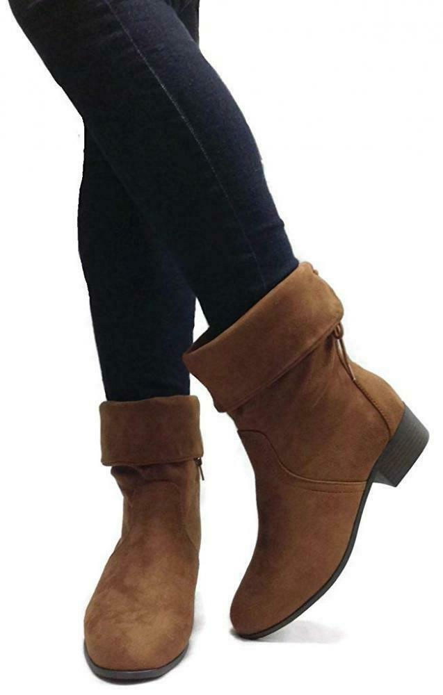 SODA Women's Slouchy Boot Round Toe Foldable Faux Suede Suede Suede 6633ae