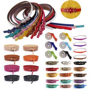 Mode-Damenguertel-PU-Leder-duenner-schmaler-Guertel-Belt-Hueftguertel-Taillenguertel