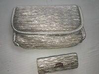 2pc. Silver Mesh Cosmetic Makeup Bag + Lipstick Case Lightweight Purse Travel