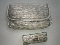 2pc. Silver Mesh Cosmetic Makeup Bag + Lipstick Case Lightweight Purse Travel