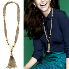 Womens Golden Long Tassel Pendant Chain Tassels Charms Sweater Necklace Jewelry