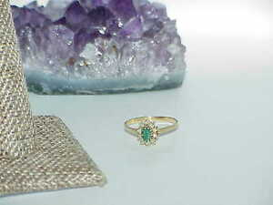 14K-30ct-Emerald-Oval-10-Diamond-Ring-Yellow-Gold-Size-7-Gorgeous
