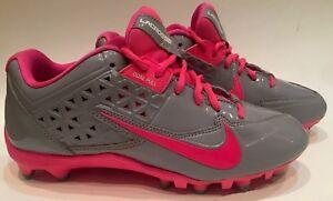 Nike-Speedlax-4-Lacrosse-Field-Hockey-Dual-Pull-Pink-Grey-Womens-Cleats-Size-9