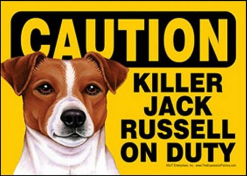 """5/"""" x 7/"""" Caution Killer Jack Russell on Duty Dog Sign"""