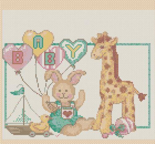 Teddy and Giraffe FlowerPower37-uk New Baby Birth Sampler Cross Stitch Chart