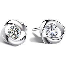 925 Sterling Silber Ohrstecker mit Zirkonia Ohrringe Farbe Diamant - ein Paar