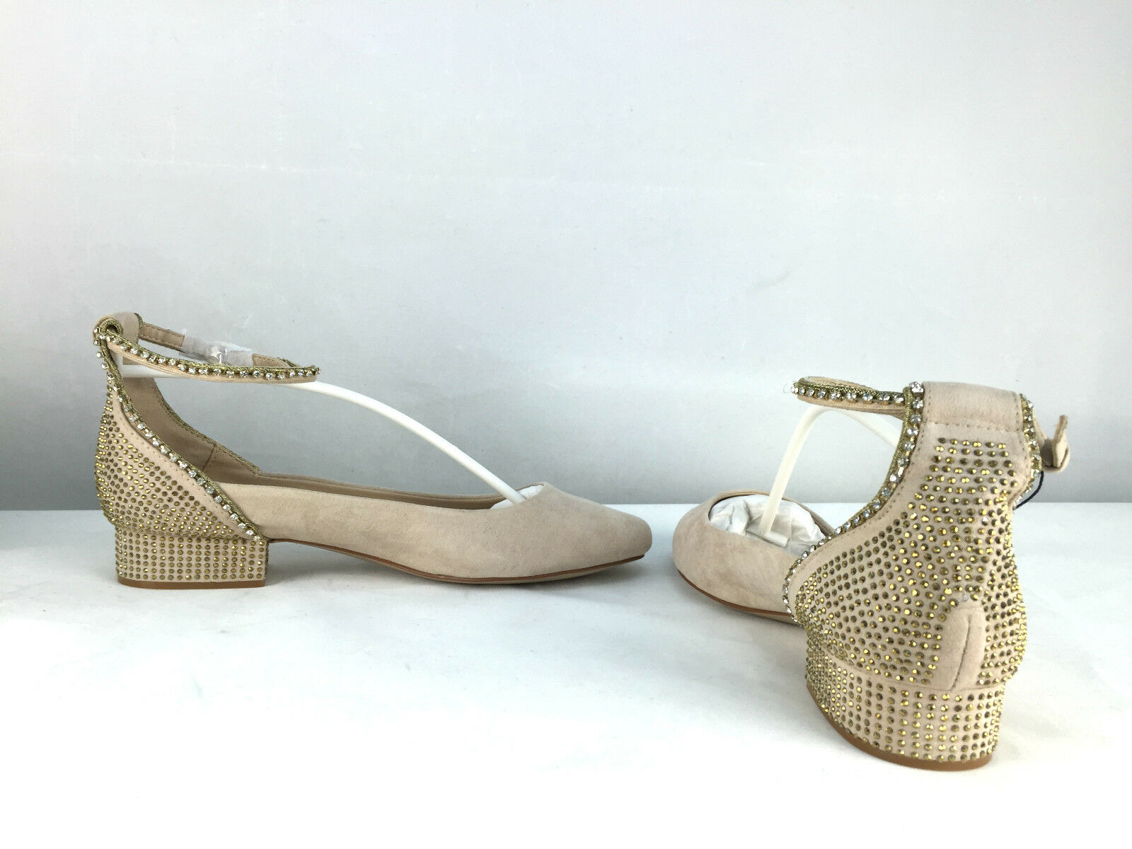 ZARA NUDE/BEIGE NUDE/BEIGE NUDE/BEIGE BALLERINA FLATS WITH CRYSTALS Schuhe SIZE UK7/EUR40/US9 329776