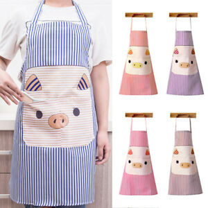 GI-KQ-Cute-Pig-Polyester-Pockets-Home-Kitchen-Cooking-Anti-Splash-Apron-Exquis