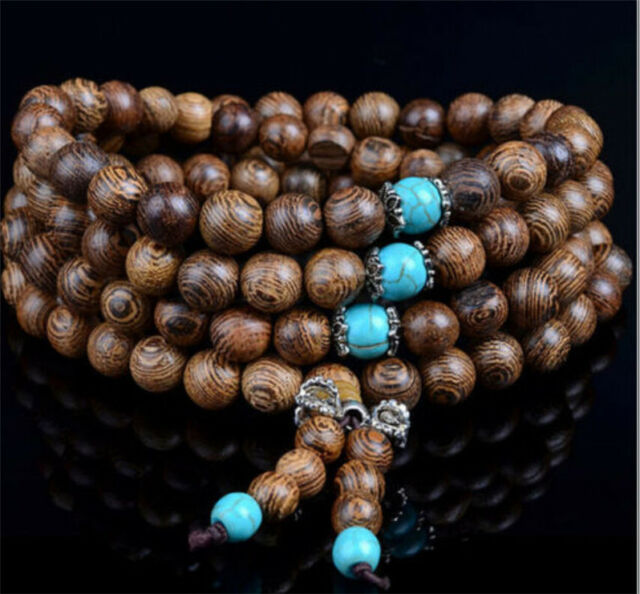 108 Beads Sandalwood Buddhist Buddha Meditation Prayer  Mala Bracelets Necklace