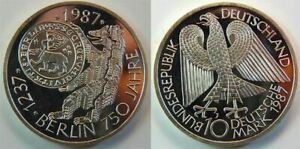 Frg 10 DM 1987 Commemorative Coin 750 Years Berlin Proof, IN Coin Capsule