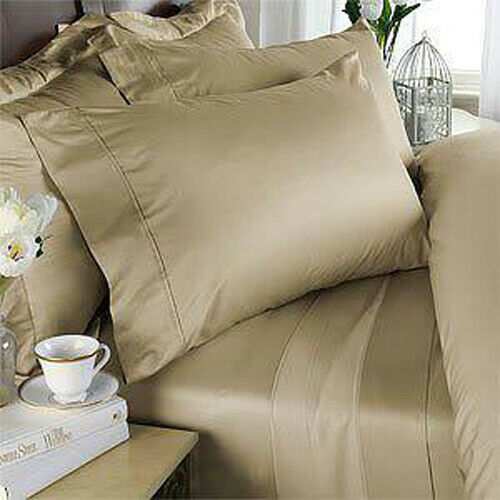 QUEEN SIZE BEIGE SOLID 4 PCS SHEET SET 1000 THREAD COUNT PURE EGYPTIAN COTTON