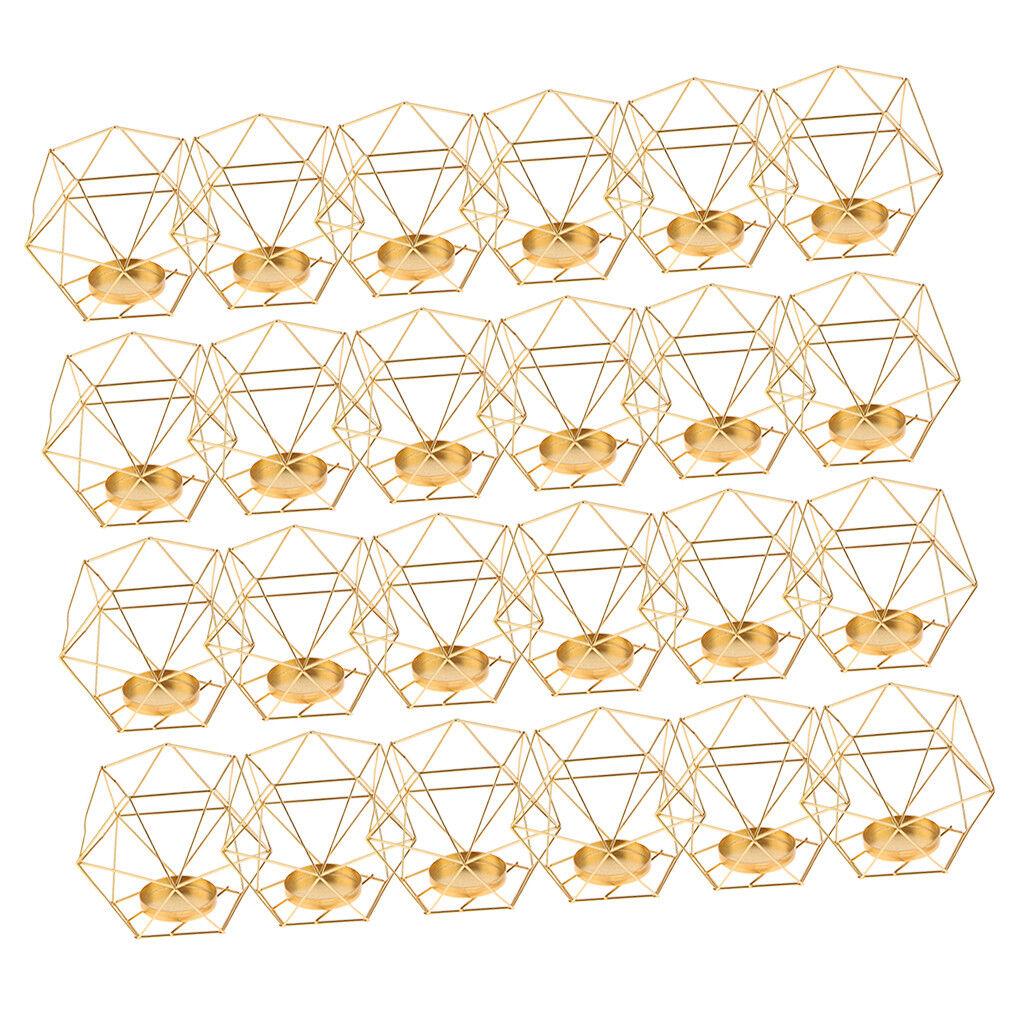 24x KUPFER 3D GEOMETRISCHE EISENKABELHALTER KERZENHALTER HOCHZEITEN  | Große Ausverkauf