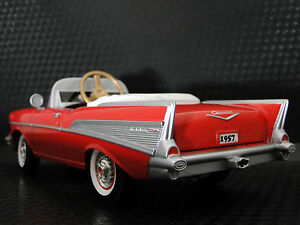 Pedal-Car-1957-Chevy-Vintage-BelAir-Red-Metal-Collector-1955-9-Inches-in-Length