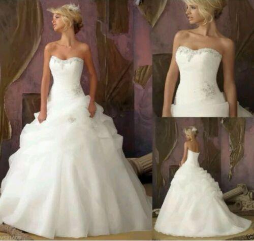 Vestido de baile sin tirantes del organza de novia blanco//marfil Vestidos para Boda Talla 6-16 UK