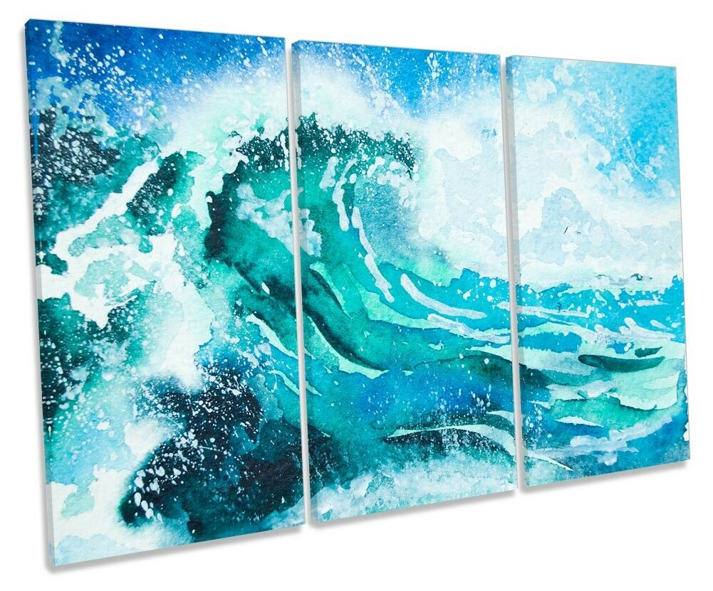 Wave Wave Wave Surf Blau Beach Bathroom TREBLE CANVAS WALL ARTWORK Print Art 411457