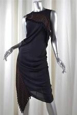 McQ by ALEXANDER McQUEEN Navy Sleeveless Draped Tassel Sheath Dress 36/0 NEW