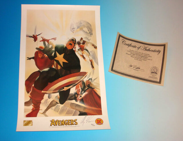 Avengers Commemorative Lithograph Signed by Alex Ross with Certificate Marvel
