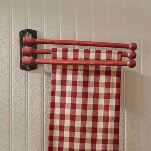 Three Prong Adjustable Red Wood Towel Rack Kitchen Wall Decor by Park Designs