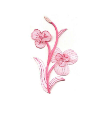 Pink W//Beads -Embroidered Iron On Applique Patch Flower B Crafts