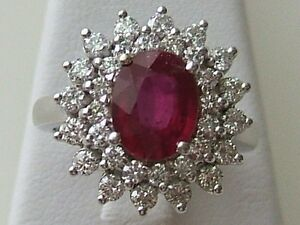 Image Is Loading 14k White Gold Oval Ruby Amp Diamond Cer
