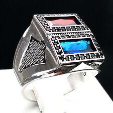 H46 6 Giy-Style Echt 925 er Silber Herrenring Rubin, Saphir Stil 62 (19,7 mm Ø)