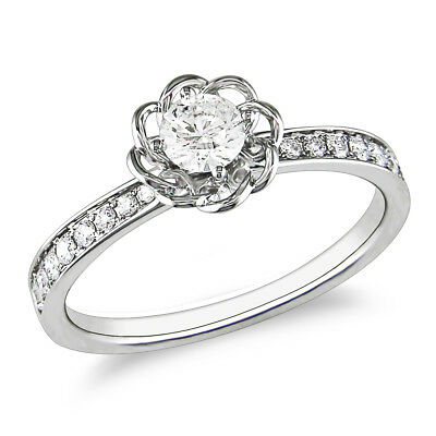 Amour 1/4 CT Diamond TW Flower Engagement Ring in 14K White Gold
