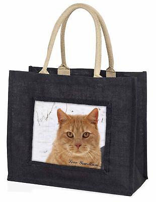 rote Katze ' Liebe, die sie Mama' große schwarze Einkaufstasche