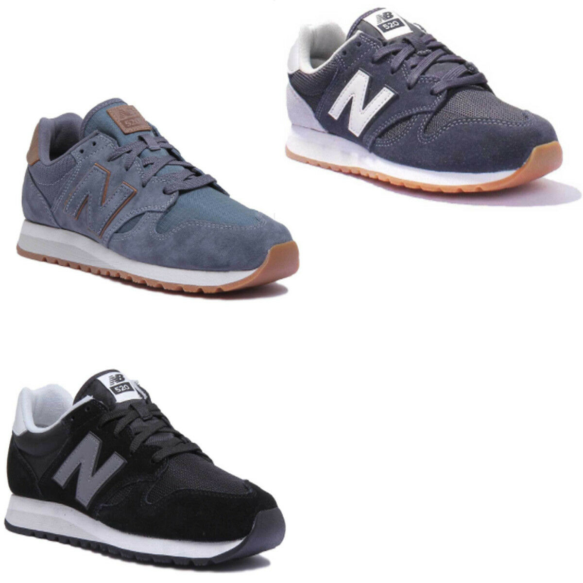 New Balance U520AK Women Suede Mesh Navy White Trainers Sizes 3 - 7