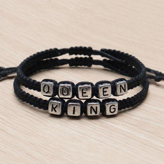 Handmade Bracelets King And Queen His Hers Charm Bracelet Bangle Gift Tsu