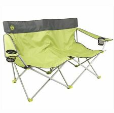 Coleman 2 Person Camping Quattro Lax Double Quad Chair w/ Pockets | Green & Grey