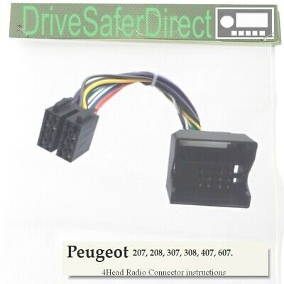 4-Head 6000-73 Radio Cable Para Pioneer Android ISO//Peugeot 407