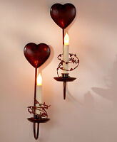 Country Led Metal Red Heart Wall Candle Sconce Set Hanging Wall Home Decor