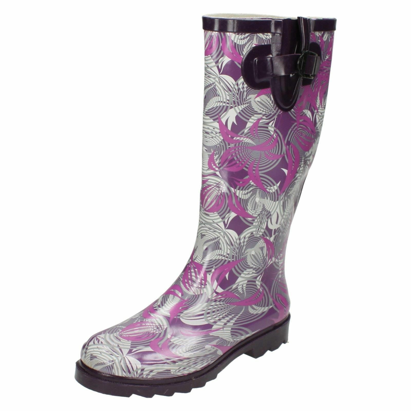 Spot On X1163 Ladies Rubber Pull On Purple Swirl Patterned Wellies