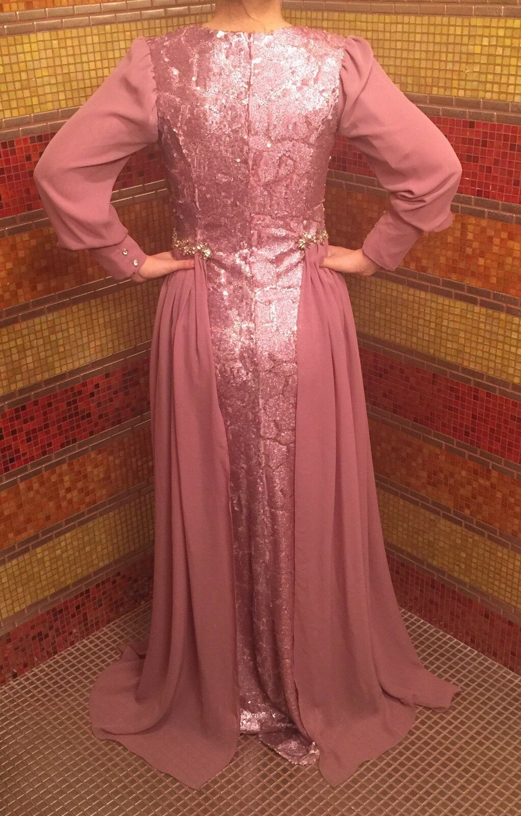 Long sequined sequined sequined formal dark pink dress sizes 2- 10 115ee5